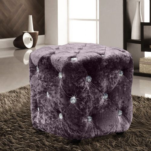 MAUVE LUXURY CRUSHED VELVET DIAMANTE FOOT STOOL CUSHION CUBE POUFFE DESIGNER FURNITURE